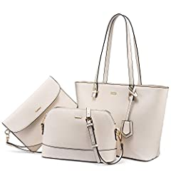 """【Materials】Well made and fashion design: Made of good quality synthetic leather fabric and polyester lining with durable gold hardware. 【Dimension】Top Handle Tote Bag: 11.8""""x4.5""""x9.8""""(LxWxH), Handle Height: 9.4"""" , Handle Length: 20.5"""". Medium Messeng..."""