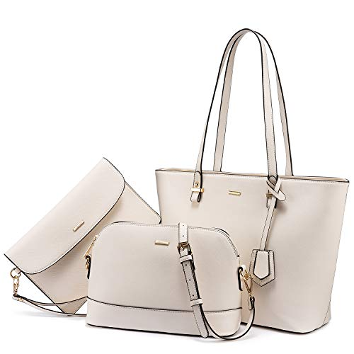 Handbags for Women Tote Bag Fashion Satchel Purse Set Hobo Shoulder Bags Designer Purses 3PCS PU Top Handle Structured Gift Beige