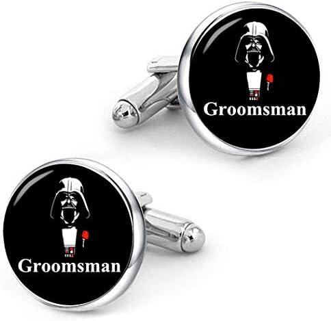 Kooer Classic Groomsman Cufflinks Personalized Star Wedding Jewelry Gift for Men Groomsman product image