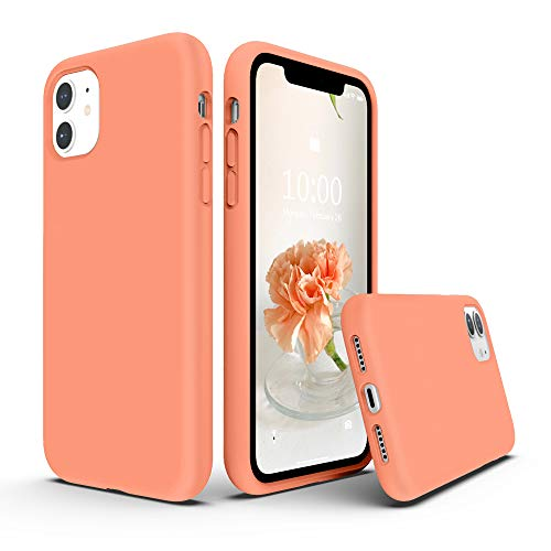 SURPHY Silicone Case Compatible with iPhone 11 Case 6.1 inches, Liquid Silicone Full Body Thickening Design Phone Case (with Microfiber Lining) for 11 2019 (Peach)