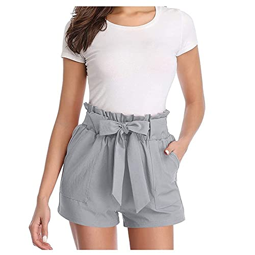 N\P Casual Tie Front Ruffled Waist Paper Bag Shorts Summer Color Mid-Waist Shorts Gray