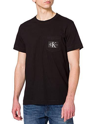 Calvin Klein Jeans Monogram Badge Pocket Tee T-Shirt, CK Nero, M Uomo
