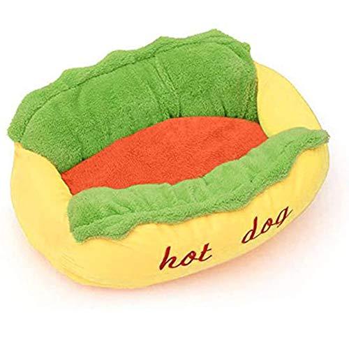 GYNFJK Hamburger Small Medium Cats Bett Weiche PP Baumwolle Warmes Haustierbett Hot Dog Pad Haustierkissen U-förmiges Muster Hot Dog Hundebett, Orange, 63x47x21cm,Small