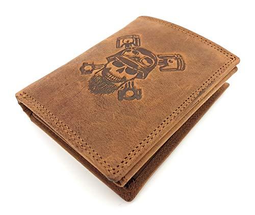 echt Büffel Voll-Leder Biker Geldbörse für Männer, Totenkopf Schädel Skull, naturbelassenes Hunterleder Portemonnaie, Scheinfächer aus Leder mit RFID NFC Schutz