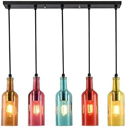 Jahrgang industrielle Kronleuchter, Pendelleuchte Glas-Wein-Flasche Licht, 5 Kopf Retro Kronleuchter für Restaurant Kitchen Island Bar Dining Room Bar E27