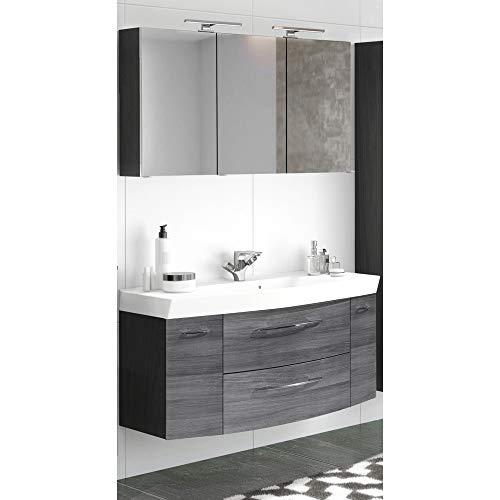 Lomadox Badmöbel Waschplatz Set in Eiche Rauschsilber Nb. mit Graphit ● 120cm Waschtisch-Unterschrank mit Waschbecken ● LED-Spiegelschrank mit 3D-Ansicht und Steckdose ● Made in Germany
