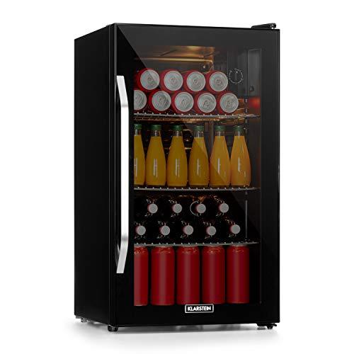 KLARSTEIN Beersafe Onyx - réfrigérateur à boissons, 5 niveaux, 42 dB, 3 clayettes métalliques mobiles, éclairage LED, pour bouteilles, porte vitrée cadre noir, 80 L - noir