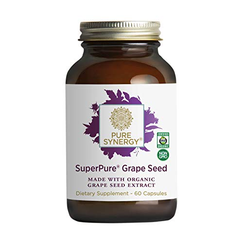Pure Synergy SuperPure Grape Seed Extract | 60 Capsules | Made with Organic Ingredients | Non-GMO | Vegan | Antioxidant | with Organic Red Wine Grape Skin