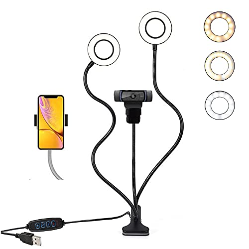 """Video Conference Webcam Light Stand /3.5"""" Selfile Ring Light Stand and Universal Phone Holder for Live Stream, Broadcasting, Online Class Compatible for Logitech webcams C922X, C935e, C925e,Brio 4K"""
