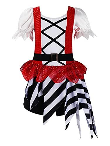Freebily Disfraz Pirata para Nia Disfraz Halloween Pirata Bucanero Princesa Disfraz Mono Corto con Lentejuelas y Cinturn Disfraz Fiesta Circo Nia Rojo 9-10 aos