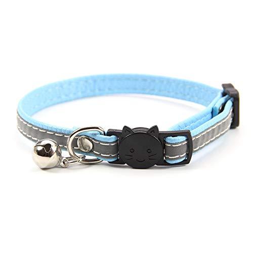 Collares reflectantes gatos con bonitas campanas, collar para mascotas liberación rápida, collar seguridad ajustable perros, pajarita gatos con etiquetas anti-perdida para gatos perros pequeños,Azul