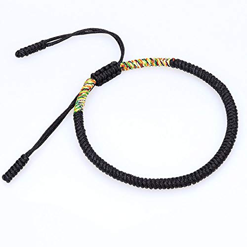 Geflochtenes Armband,Handgestrickte Tibetischen Seil Schmuck Vajrayana Buddhismus Knoten Ursprüngliche Einfache Schwarz Und Farbe Einstellbar Armbänder Personalisierte Kleidung Accessoires Schmuck