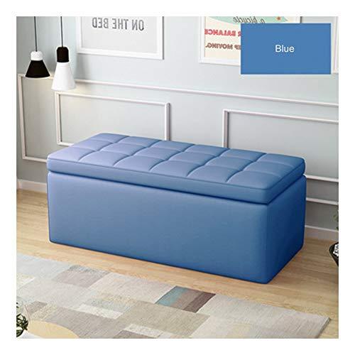 YZZSJC Puf contenedor Cubo Escabel Taburete Mesa Asiento Arcón Asiento Puf Ordenación Caja De Almacenaje (Color : Blue, Size : 100x40x40cm)