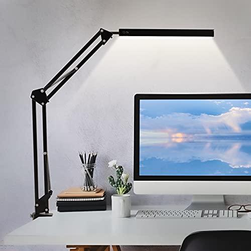 Schreibtischlampe LED Tageslicht Schreibtischlampe Klemmbar Klemmfuß mit Schwenkarm,3 Farbtemperaturen und 10 Helligkeiten 10W Dimmbar Architektenlampe,Augenschutz Geeignet für Büro,Studium und Lesen