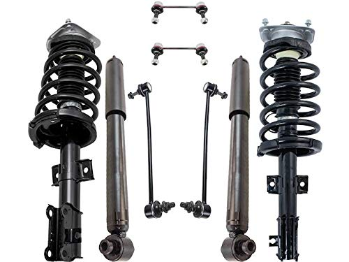 Front and Rear Shock Strut Coil Spring Sway Bar Link Kit - 8 Piece - Compatible with 2003-2014 Volvo XC90 (without Nivomat Self Leveling Suspension)