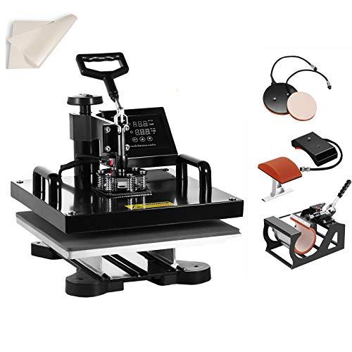 SmarketBuy Heat Press 15x15 Inch Digital Sublimation T-Shirt Heat Press Machine for Hat Mug Plate 5 in 1 Black