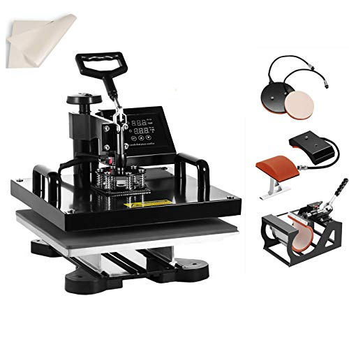 SmarketBuy Heat Press 15x15 Inch Digital Sublimation T-Shirt Heat Press Machine for Hat Mug Plate 5 in 1 Black