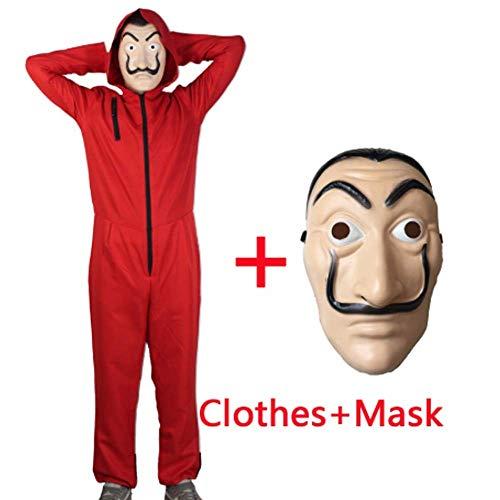 ZHANGXX Dali kostuums La Casa De Papel Cosplay kostuum rode hoodie overall met Dali masker