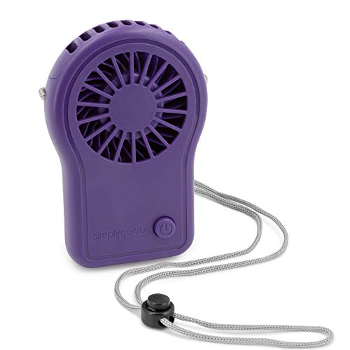 Simply Genius Personal Necklace Fan, Battery Operated, Portable Neck Fan for Cooling and Travel with Adjustable Lanyard, Purple