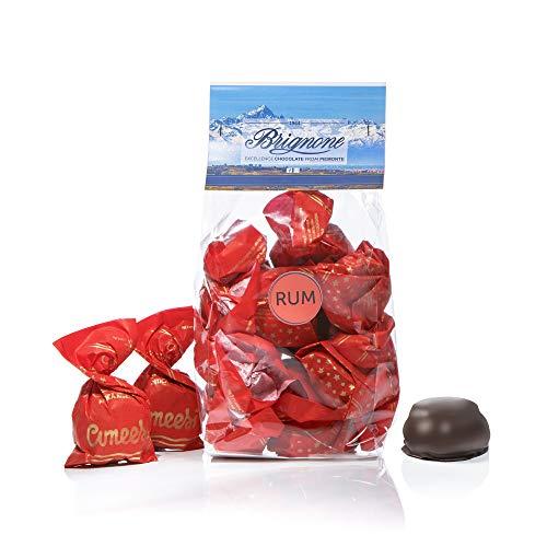 Brignone - Cuneesi al Rhum - Originali Cioccolatini Artigianali con Doppia Meringa al Cioccolato Fondente e Rhum, 250g