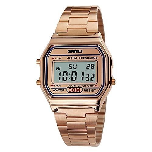 JTTM Reloj Digital para Hombre con Correa De Acero Inoxidable Y Fecha, Color Negro, Oro O Oro Rosa, Reloj Digital para Hombre,Rose Gold