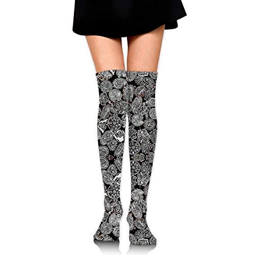 WH-CLA Compression Socks Halloween Kostüm Damen Mädchen Lange Socken Lässiges Cosplay Neuheit Oberschenkel Hohe Socken Über Knie Beinlinge Bedruckte Kompressionssocken Outdoor Kleid Über