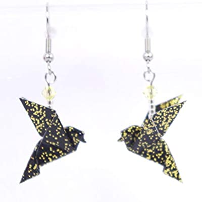 Boucles d'oreilles colombes origami noires avec des petits points dorés