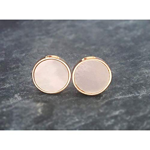 Damen Ohrstecker rosè-gold rund Cabochon perlmutt schimmernd handgefertigt 10mm Ohrringe minimalistisch handmade by Schmuckphantasien trendy und zeitlos