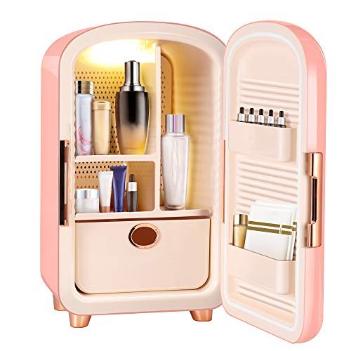 SEAAN 12L Mini Skincare Beauty Fridge for Makeup Cosmetic Fridge Mini Cooler Refrigerator Organizer for Bedroom to Cool Down Skincare Products, AC/DC Adapter