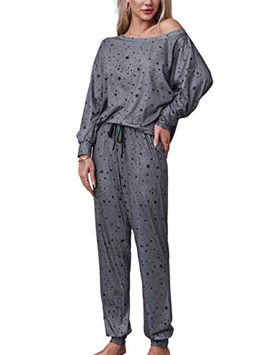 MulEtour Women Loungewear Set Long Sleeve Pullover Tops Pants With Pockets Two Piece Outfits (Gray-Star, M)