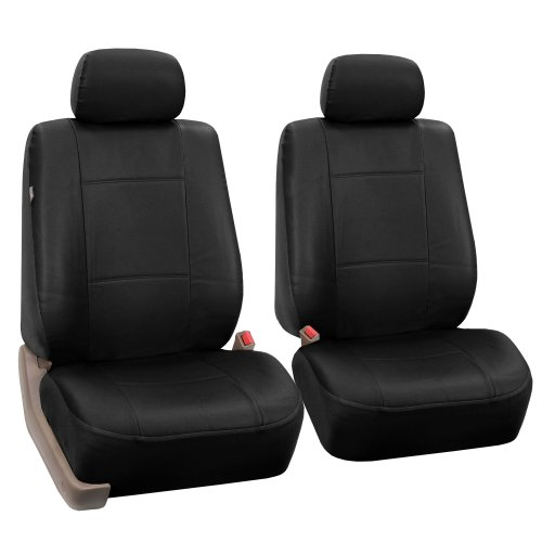 FH GROUP Universal Fit Front Car Seat Cover – Faux Leather (Black), Set of 2