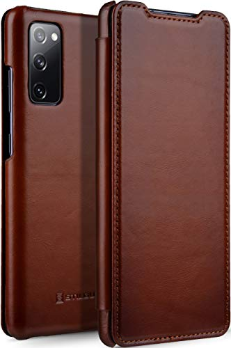 StilGut Book Hülle kompatibel mit Samsung Galaxy S20 FE Hülle aus Leder zum Klappen, Klapphülle, Handyhülle, Lederhülle - Cognac Antik