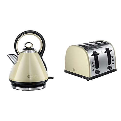 Russell Hobbs Legacy Quiet Boil Kettle, 1.7 Litres with 4-Slice Toaster, Cream