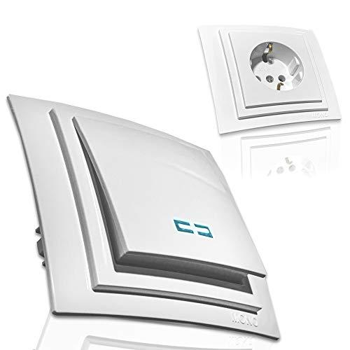 Stopcontacten, lichtschakelaar, dimmer, USB - set selectie zenaline schakelaarprogramma Lichtschakelaar met LED Alpinewit