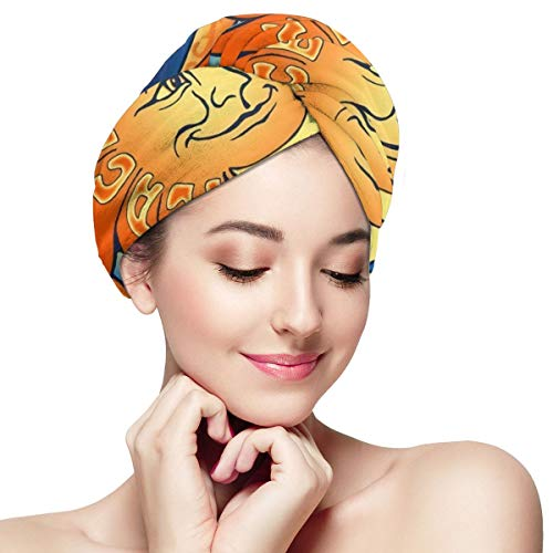 Bettiboy Sun and Moon Peace Frog Microfiber Hair Towel Wrap for Women Super Absorbent Quick Dry Hair Turban for Drying Curly Spa Towel 11 inch X 28 in