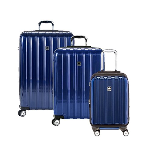Delsey Luggage Aero 3 Piece Polycarboante Hardside Spinner Set, Cobalt