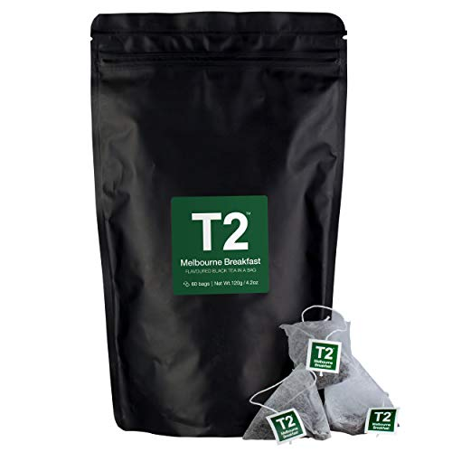 T2 Tea - Melbourne Breakfast Black Tea, Tea Bags in Resealable Bag, 120g (4.2oz), 60 Tea Bags