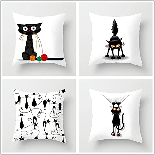Pillow Case Cushion Cover, Gatto nero 4 Pieces Pillow Case, Throw Pillow Covers, Home Decoration Pillow Case, Super Soft Sofa Cushion, for Living Room Sofa Bed Auto 50x50cm(20x20in)