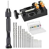 37PCS Mini Hand Drill Set for Crafts, Pin Vise Precision Twist Drill Bits with Mini Drill Press Vise, Manual Drill Set for Craft Carving Models Hobby DIY, 0.5-3mm Drilling Bits & 0.3-1.2 mm PCB Drill