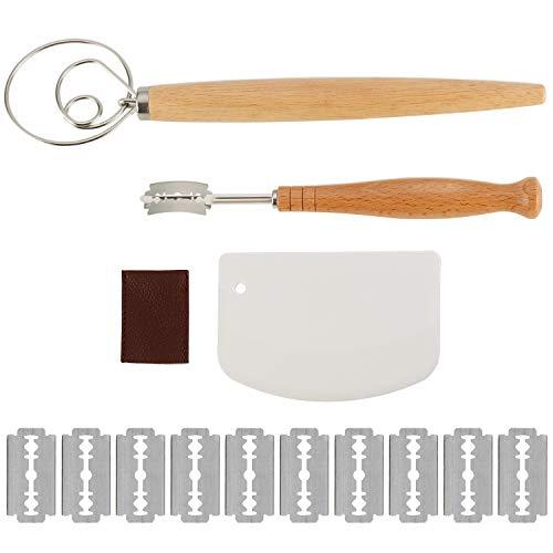 Brot Lame, dänisches Schneebesen-Set aus Edelstahl, dänischer Teigbesen, Brot Ritzwerkzeug mit Lederschutzhülle, 14 austauschbare Rasierklingen