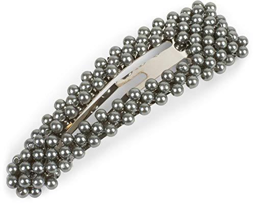 styleBREAKER barrette pour femmes oversize avec perles rondes et fermeture par clip, barrette, pince à cheveux, chic parisien 04027008, couleur:Gris