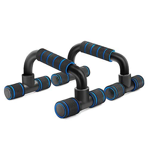 FENGCHENG - Barras de empuje hacia arriba de acero fuerte con cómodo agarre de espuma y barras antideslizantes para músculos, pecho libre de ejercicio, ejercicio simple fitness (azul)