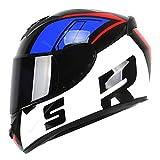 qwert Motorcycle Modular Helmets Full Face Helmets Flip-up Helmets, Motocross Helmets with Sun Visor for Women Men Adults,DOT Approved (58-61cm)