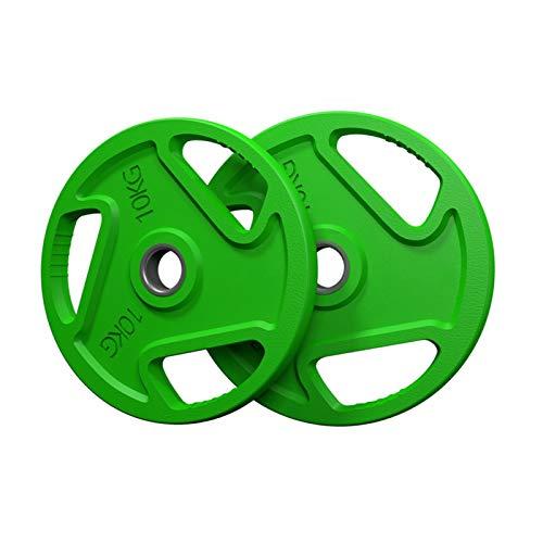Stoßfänger-Gewichtsplatten-Set, 2,5KG/5KG/10KG/20KG/30KG/40KG Hantelscheiben, Bunte Langhantel Gewichtheben Platte, 2 Zoll Loch, Tri-Holes Grip Plates für das Heimtraining/ Gymnastikübung/ Trainieren