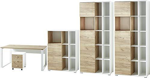 Preisvergleich Produktbild Germania 8078-513 GW-Lioni 5-tlg. Büromöbel-Set,  inklusive Schreibtisch,  Rollcontainer und drei Aktenschränke,  im Dekor Weiß / Navarra-Eiche-Nb.