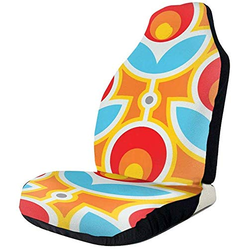 Car Seat Covers Retro Geometrische Blume Universal Lustige Autositzbezüge Durable Autositzschutz Autositzbezüge 2 Stück Fit SUV Die Meisten Auto LKW