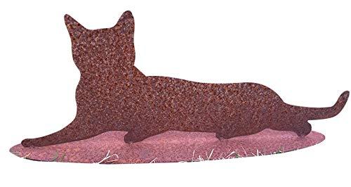 Katze Liegend Rost Edelrost Rostfigur Gartendekoration Kater Bauernhof Deko Metall + Original Pflegeanleitung von Steinfigurenwelt