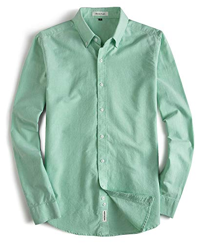 MUSE FATH Men's Button Down Dress Shirt-Cotton Casual Long Sleeve Shirt-Party Dress Shirt-Light Green New-L