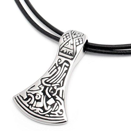316L Edelstahl Anhänger keltisch germanisch nordisch Thor Beil Axt Hammer silber 1m Lederband Halskette
