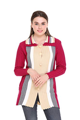 eWools Women Ladies Girls Winter Wear Woolen Button Top Sweaters Cardigans Coats (Band Collar) (Multicolor5, X-Large)